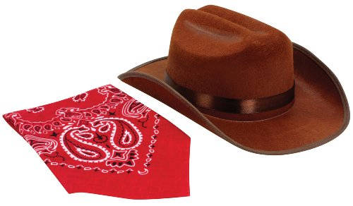 Child Cowboy Hat (Aeromax Junior Cowboy Hat with Bandanna, Brown)