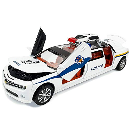 Xolye Alloy White Police Car Model Metal Anti-Fall Black Special Police Toy Car Pull Back Simulation Red Fire Truck Car Inertia Forward Children Toy Gift (Color : White)