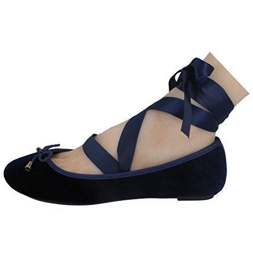 Leg On Ladies Ballerinas Up Spot Flat Navy Blue Tie p6UdSqIqwn