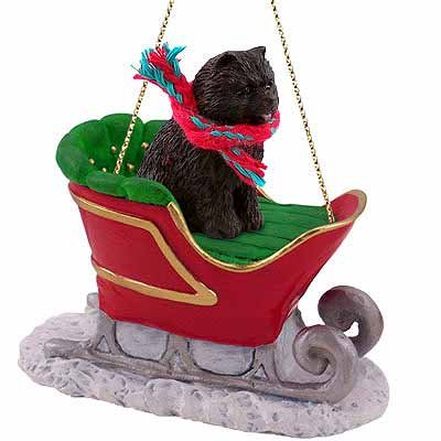 Chow Chow Sleigh Ride Christmas Ornament Black - DELIGHTFUL! - Chow Christmas Ornament