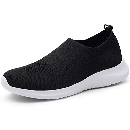 KONHILL Women's Walking Tennis Shoes - Lightweight Athletic Sport Gym Slip on Sneakers, Black, 45