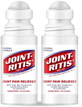 Joint-Ritis Roll On - Maximum Strength Joint Pain Reliever - 100% All Natural Ointment - 2 Pack