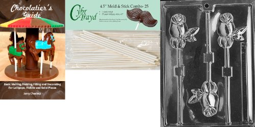 - Cybrtrayd 'Long Stem Rose Lolly' Fruits and Vegetables Chocolate Candy Mold with 25 4.5-Inch Lollipop Sticks and Chocolatier's Guide