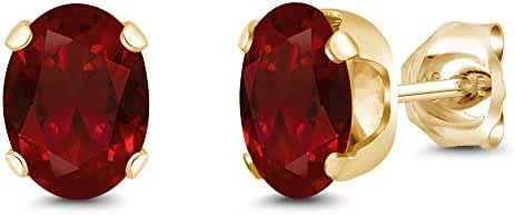 Yellow Gold Plated Genuine Red Garnet Stud Earrings (2.20 Cttw, Oval 7X5MM)