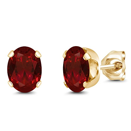 Gem Stone King Yellow Gold Plated Red Garnet Stud Earrings (2.20 Cttw, Oval 7X5MM)