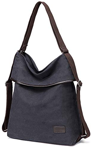 Convertible Cross Body Bag - Womens Shoulder Bag Canvas Multifunctional Backpack Purse Rucksack Convertible bag Crossbody Casual Tote Handbag (Black-D289)