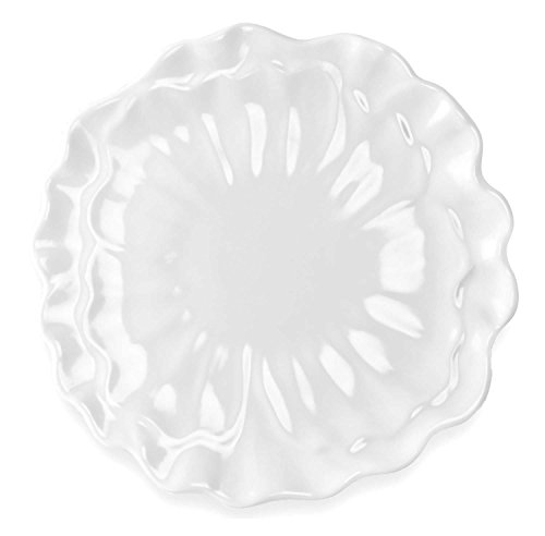 - Q Squared Peony BPA-Free Melamine Dinner Plate, 11-Inches, Set of 4, White