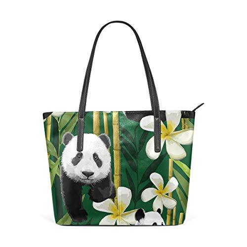 Handbag Bamboo Floral Panda Shoulder Bag Tote Bag for Girls Women