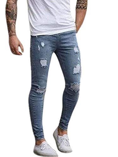 Allenamento Stretch Jeans Fashion Chino Da Uomo Pantaloni Giovane Hellblau Saoye Lunghi Cargo Denim qgxv1vAO