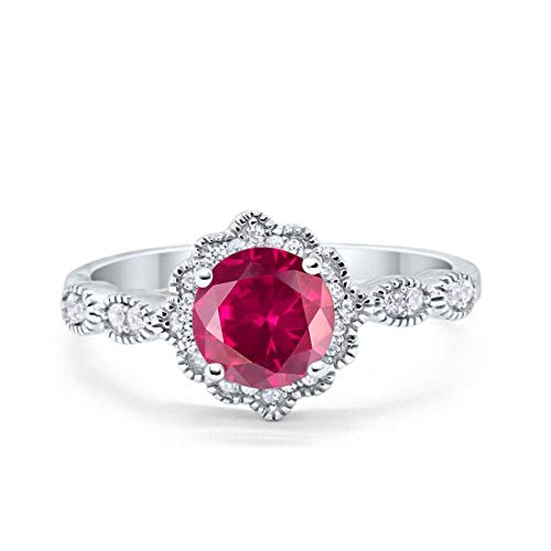 Blue Apple Co. Halo Floral Art Deco Wedding Engagement Ring Simulated Ruby Round Cubic Zirconia 925 Sterling Silver, Size-7