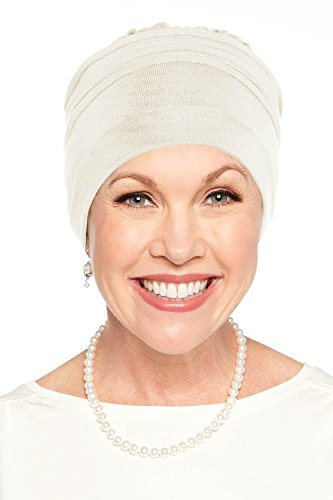 Cardani Meridian Beanie Cap & Scarf Volumizer Turban in Bamboo Chemo, Cancer - Wear Under Head Scarves Luxury Bamboo - Cream - Meridian Tissue