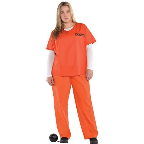 Orange Inmate Adult Costume - Plus (Best Halloween Costumes In Uk)