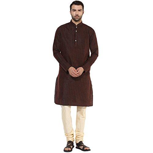 KISAH Men's Jaquard Cotton Silk Striped Long Kurta 38 Black & Maroon