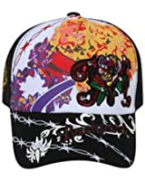 Printed Front Embroidered Design with Rhinestones Mesh Back Hat Cap - Black