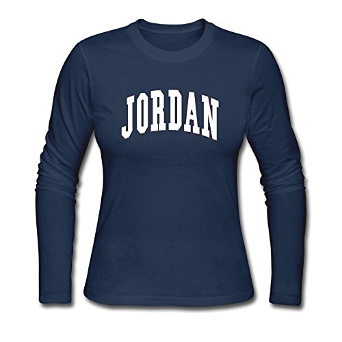 Women's Long Neck Sleeve JORDAN.png Cotton Shirt SizeKey1 Navy by Haoshouru