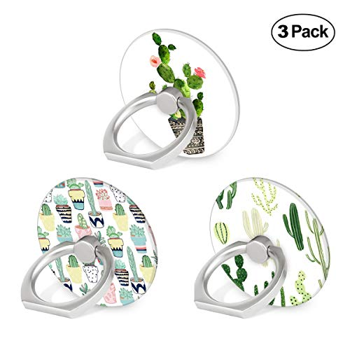 Cell Phone Ring Holder, 3-Pack 360 Degree Rotation Universal Pop Grip Stand Anti- Drop Finger Holder for Smartphone and Tablets - Green Catus