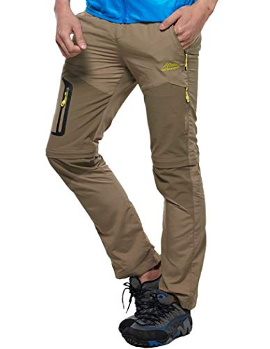 Amoystyle Men's Waterproof Quick Dry Convertible Hiking Pants Khaki Asian - Khakis Hiking