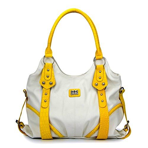 Sac MM6001 25 nbsp;cm x gris x 11 Gelb à 36 Multicolore ManuMar à sac main pour Weiß main femme nbsp;; Bella Blanc 77Hrwq