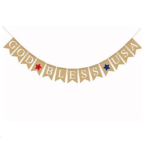 4th of July Banner God Bless USA Letter America Independence Day Garland Bunting Banner Memorial Day Veterans Day Photo Prop Sign