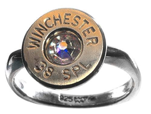 - 38 Special Winchester Brass Bullet on Sterling Silver Ring with Swarovski Crystal- Aurora Borealis (size 6)