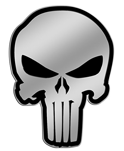The Punisher Skull on Silver STICKER, Original Licensed Symbol on Embossed METAL STICKER - Small 4 Cm Officially Licensed & Trademarked Products S-MVL-0010-M