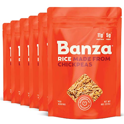 Banza Chickpea Rice, High Protein Low Carb Healthy Rice, Gluten-Free and Vegan, 8oz Bag (Pack of 6)