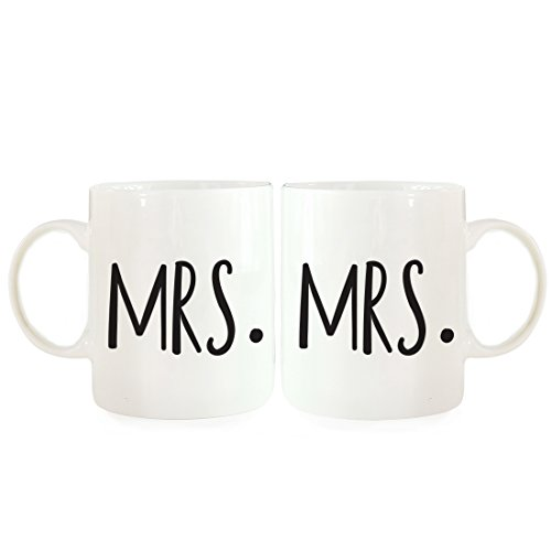 - Andaz Press Coffee Mugs Gift Set, Mrs, Mrs, 2-Pack, Lesbian Bridal Shower Bachelor Party Wedding Decor Ideas