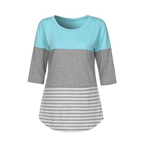 Maglietta da Lunga Yesmile Shirt Pullover a strisce casual Donna Manica Collo O pizzo con Camicie sciolto Donne camicie T Chiffon Felpa in Donna Celeste maniche xHw0KU7z