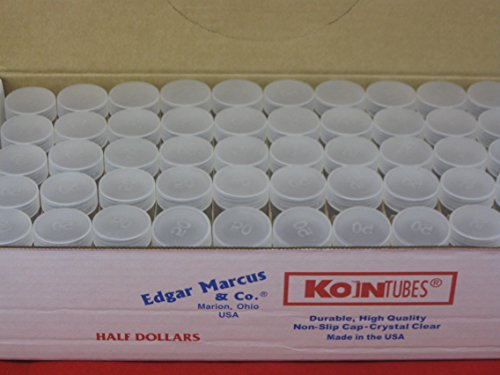 (100) Edgar Marcus Brand Round Clear Plastic (Half Dollars) Size Coin Storage Tube Holders with Screw on Lid