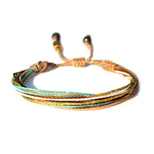 Surfer String Bracelet with Hematite Stones in Tan, Metallic Gold, Aqua, White, and Rust: Handmade Unisex Rope Friendship Beach Adjustable Surf Bracelet for 6-7 Wrist by Rumi Sumaq