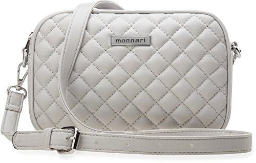 kleine weiche Damentasche gesteppte Markentasche Monnari grau