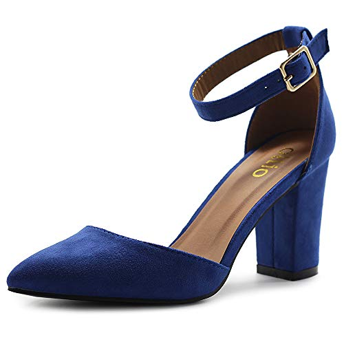 Ollio Women's Shoes Pointed Toe Ankle Straps Chunky Heels Pumps H95 (6 B(M) US, Royal Blue)