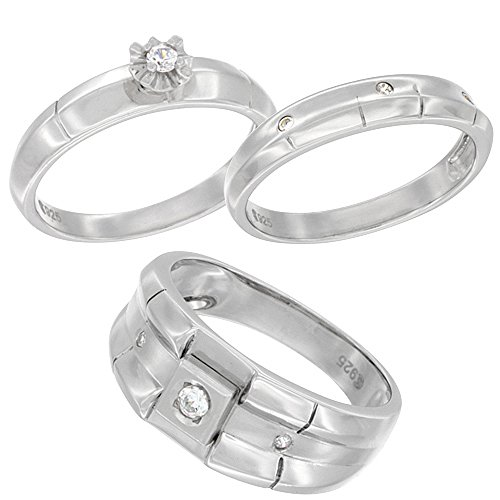 Sterling Silver Cubic Zirconia Trio Engagement Wedding Ring Set for 9 mm Him and Hers 4 mm Ribbed Design, Ladies' Size (4mm Ribbed Wedding Band Ring)