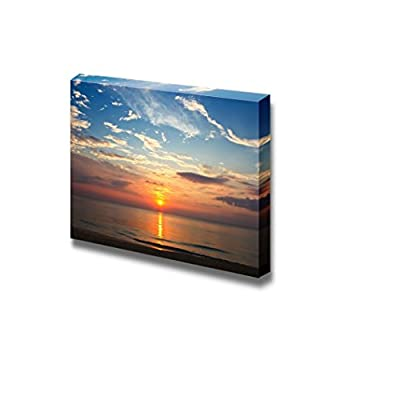 Canvas Prints Wall Art - Beautiful Scenery/Seascape Sunset on The Beach | Modern Wall Decor/Home Decoration Stretched Gallery Canvas Wrap Giclee Print & Ready to Hang - 24