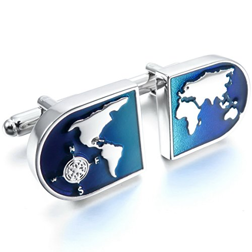 INBLUE Rhodium Plated Cufflinks Wedding