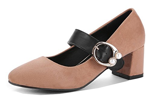 Aisun Womens Elegant Dressy Low Cut Chunky Mid Heels Buckled Square Toe Ankle Strap Pumps Shoes Light Brown HJXXV