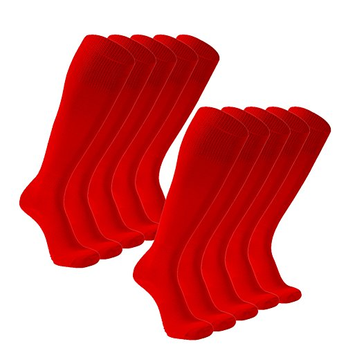 (FOOTPLUS School Uniform Socks, Long Tube Arch Support Breathable Quick Dry Cycling Hockey Soccer Baseball Volleyball Football Lacrosse Softball Cheerleaders Team Dress Socks, 10 Pack Red, Medium)