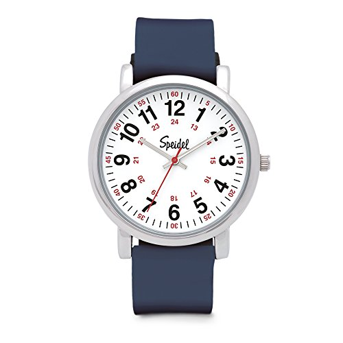 Speidel Scrub Watch for Medical Professionals with Navy Silicone Rubber Band - Easy to Read Timepiece with Red Second Hand, Military Time for Nurses, Doctors, Surgeons, EMT Workers, Students and More