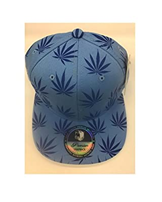 Pitbull Premium Snapback Weed Marijuana Large Leaf Print Allover Blue/Light Blue