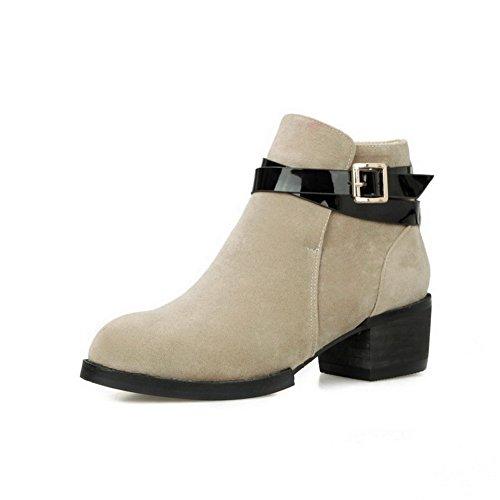 Beige Boots Kitten with Buckle Women's Closed AmoonyFashion Round toe toe heels Belt 0qBXPnxSw