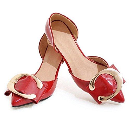 Decoracion con Metal Occidental Mujer Tacon Mini Rojo Cordones Sandalias TAOFFEN sin 6z4H8q00