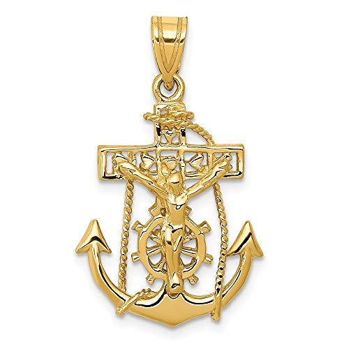 Solid 14k Yellow Gold Anchor Mariners Cross Crucifix Pendant (29mm x -