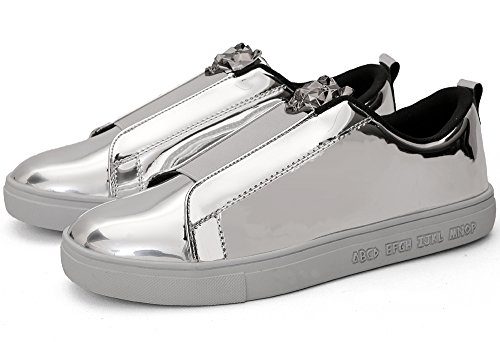 AOUPOU Men's Slip on Fashion Sneakers Low Top Comfy Street Walking Outdoor Party Metallic Shoes(7.5,Silver)