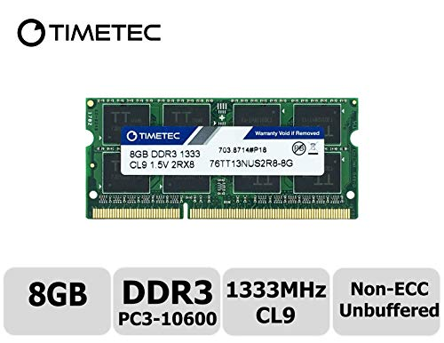 Timetec Hynix IC 8GB DDR3 1333MHz PC3-10600 Non ECC Unbuffered 1.5V CL9 2Rx8 Dual Rank 204 Pin SODIMM Laptop Notebook Computer Memory Ram Module Upgrade(8GB) ()