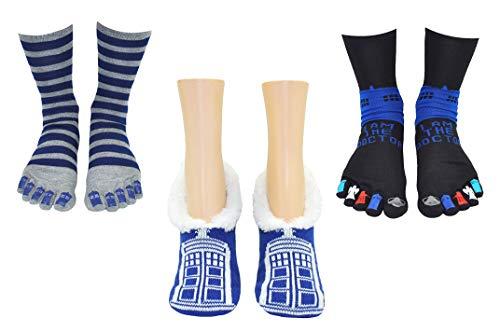 Doctor Who Socks Merchandise (3 Pair) - (Women) Dr Who Gifts Tardis Slip On & Toe Socks - Fits Shoe Size: 4-10 (Ladies)