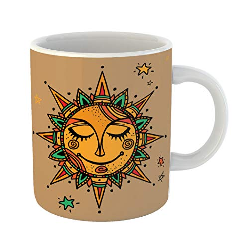 Emvency Funny Coffee Mug Aztec Summer Sun Tribal Ornamental Mandala Ethno Vintage Mexican Nirvana Yoga Floral 11 Oz Ceramic Coffee Mug Tea Cup Best Gift Or Souvenir