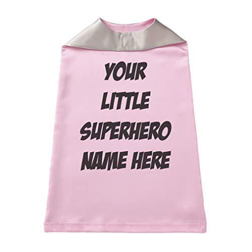 Baby Kids Personalized Superhero Cape Boys-Girls Custom Halloween Cloak - Soft Pink, Custom Text -