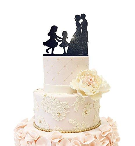 Wedding Anniverary Cake Topper couple Bride Groom with 2 Girls Dancing (2 Girls (Glitter Black)) ()