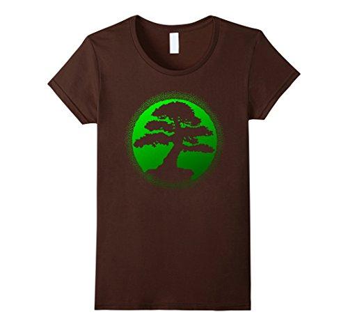 Womens Bonsai Tree Shirt Silhouette Green XL - Brown Green Female