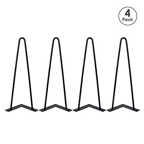 Locisne 16 Two-Rod horquilla Metal de las patas de la mesa,Acero Fundido Negro 9mm,Paquete de 4,Estilo Moderno,Comedor,Muebles,Accesorios para Los Muebles de Madera,Mesa de cafe,Mesa de comedor
